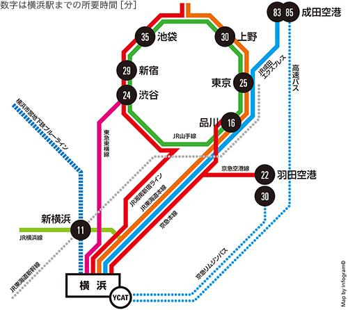 路線図:首都圏から横浜へのアクセス