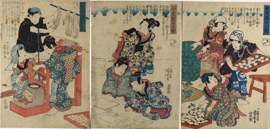 シルク博物館所蔵品展「描かれた養蚕 -蚕織錦絵の世界-」の画像